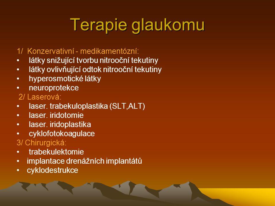 Terapie glaukomu 1/ Konzervativní - medikamentózní: