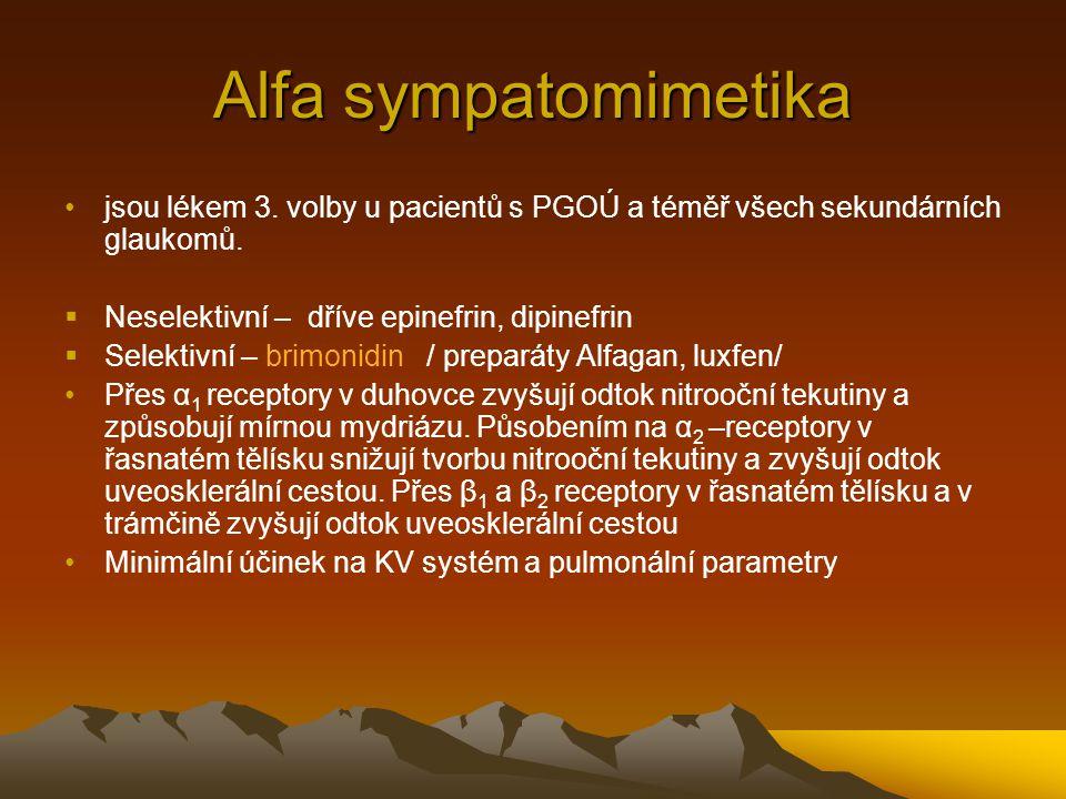 Alfa sympatomimetika jsou lékem 3. volby u pacientů s PGOÚ a téměř všech sekundárních glaukomů. Neselektivní – dříve epinefrin, dipinefrin.