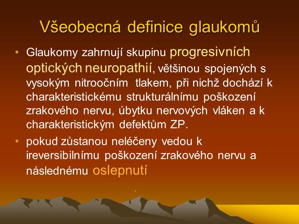 Všeobecná definice glaukomů