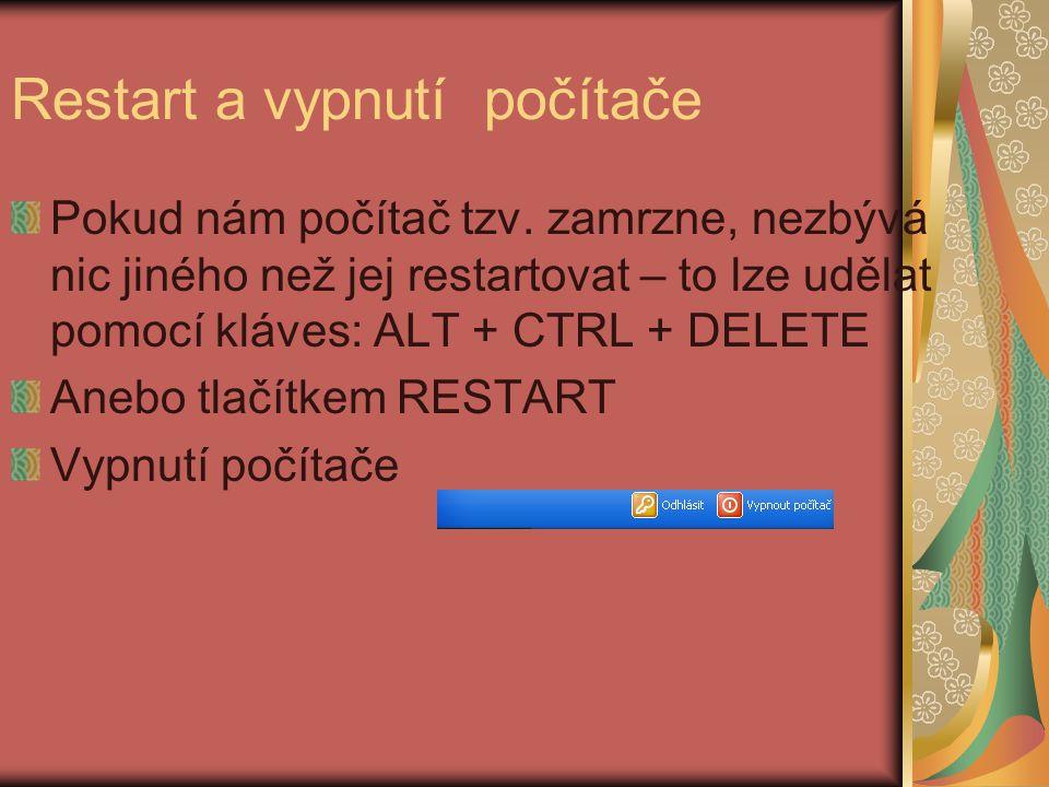 Restart a vypnutí počítače