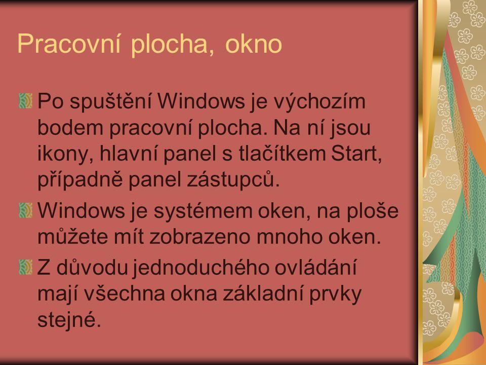 Pracovní plocha, okno