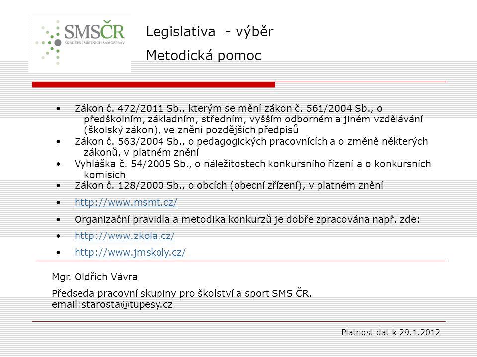 Legislativa - výběr Metodická pomoc