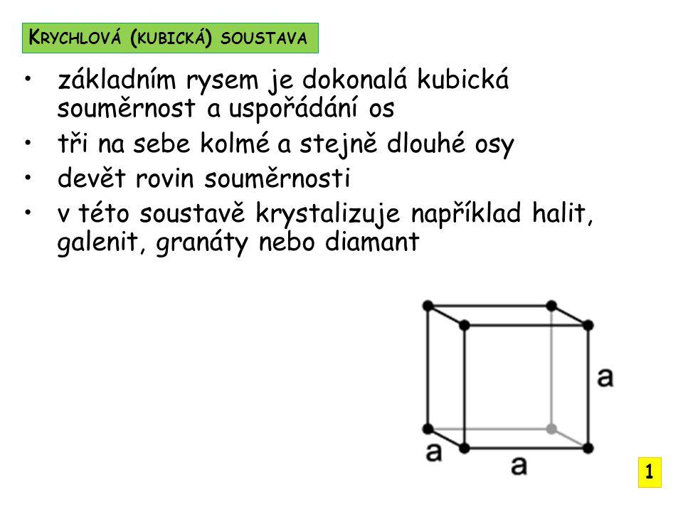 základním rysem je dokonalá kubická souměrnost a uspořádání os
