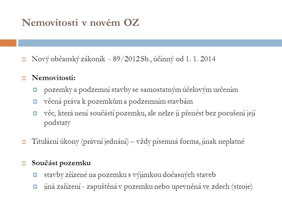 Nemovitosti v novém OZ Nový občanský zákoník - 89/2012 Sb., účinný od 1. 1. 2014. Nemovitosti: