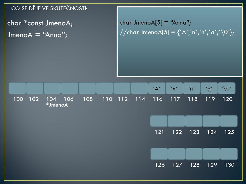 char *const JmenoA; JmenoA = Anna ;