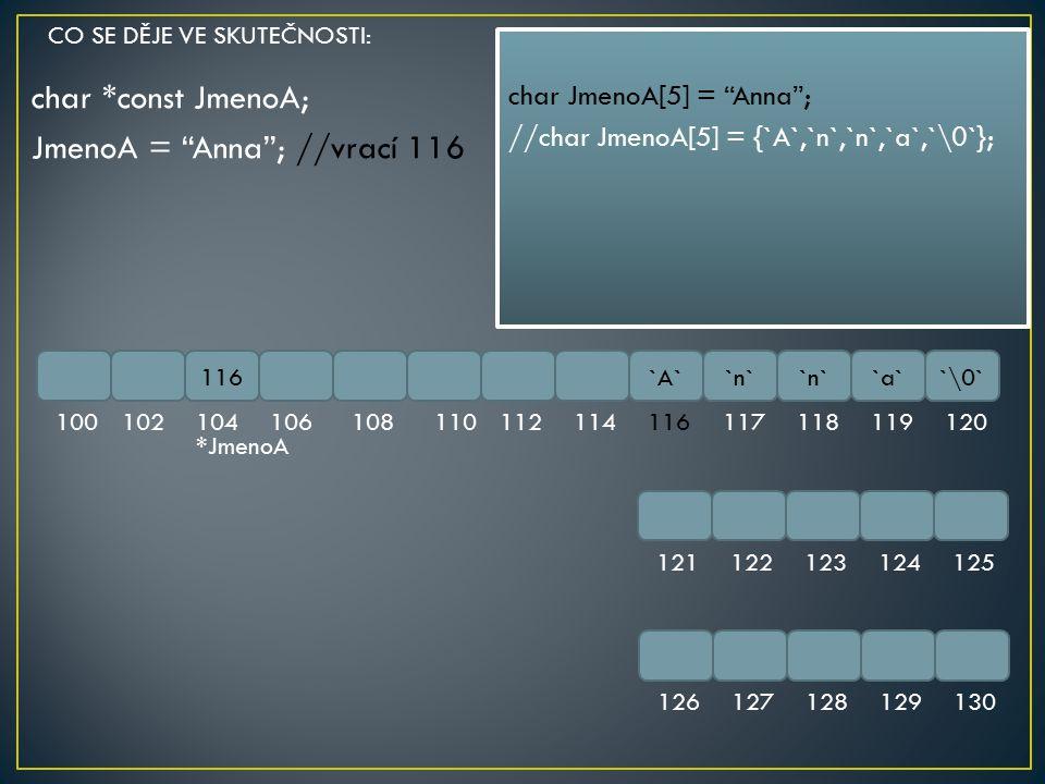 char *const JmenoA; JmenoA = Anna ; //vrací 116