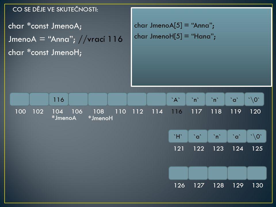 char *const JmenoA; JmenoA = Anna ; //vrací 116 char *const JmenoH;
