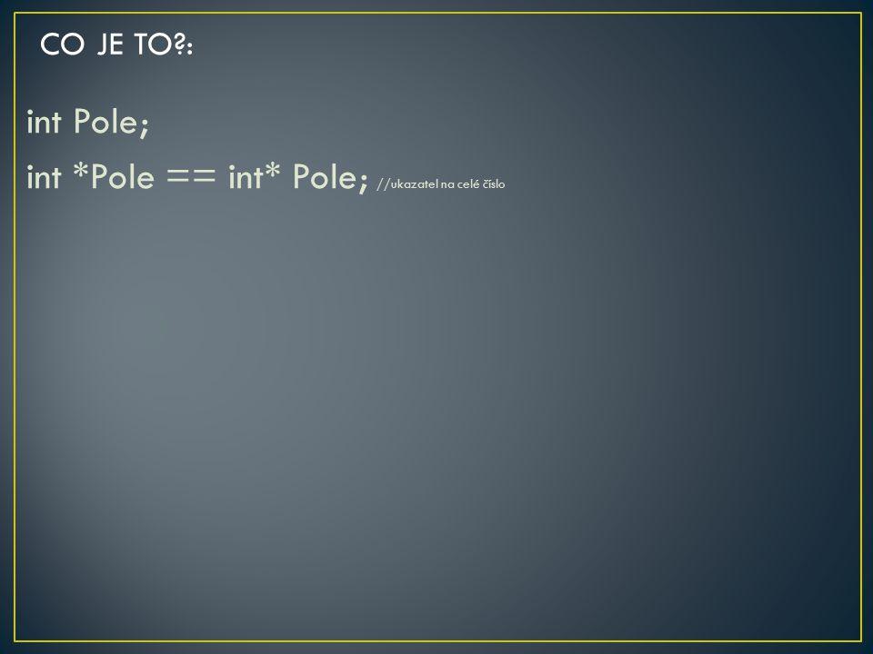 int Pole; int *Pole == int* Pole; //ukazatel na celé číslo
