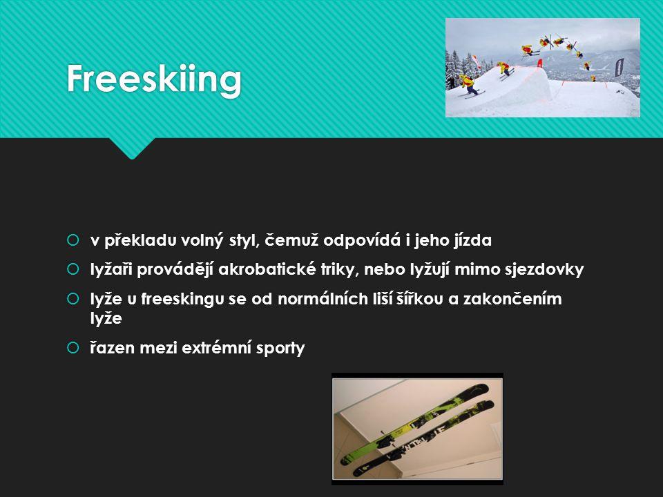Freeskiing v překladu volný styl, čemuž odpovídá i jeho jízda