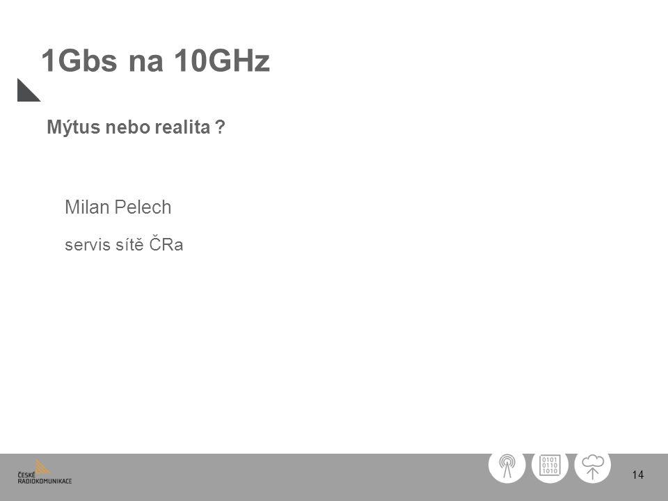 1Gbs na 10GHz Mýtus nebo realita Milan Pelech servis sítě ČRa