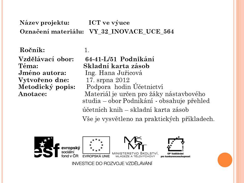 Název projektu: ICT ve výuce