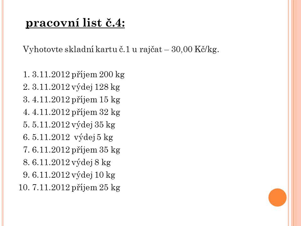 pracovní list č.4: Vyhotovte skladní kartu č.1 u rajčat – 30,00 Kč/kg.