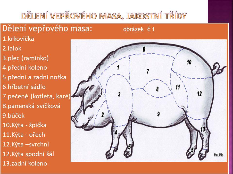 Dělení vepřového masa, jakostní třídy