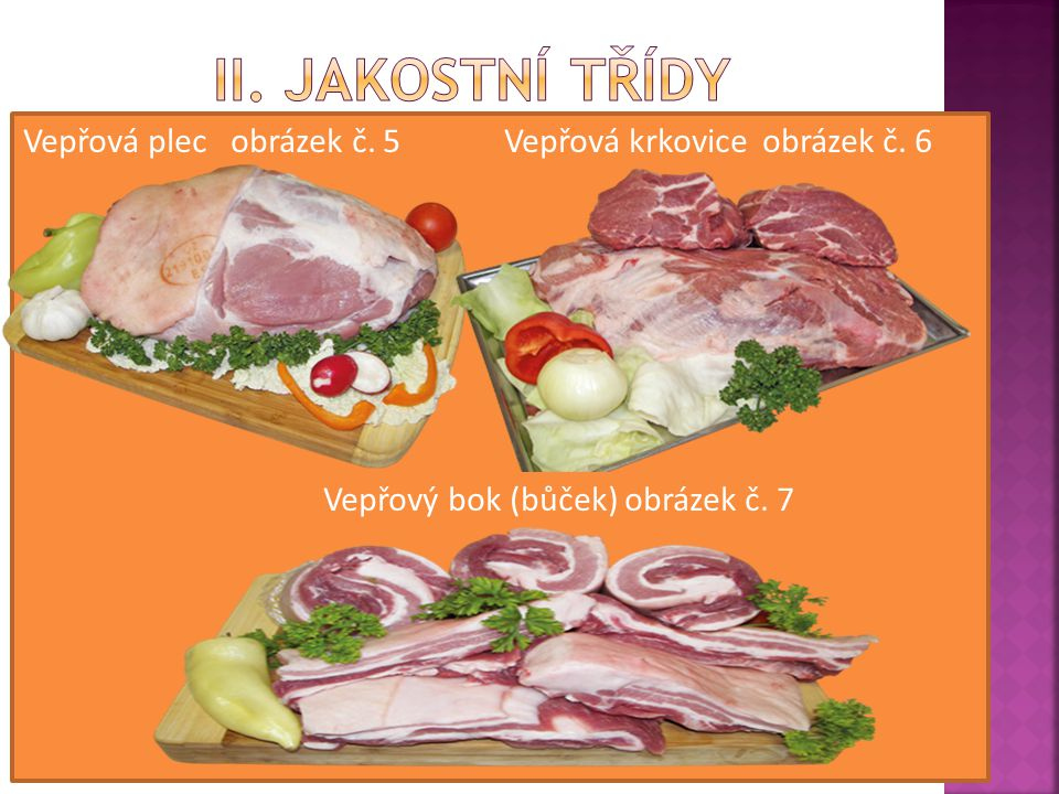 II. JAKOSTNÍ TŘÍDY Vepřová plec obrázek č. 5 Vepřová krkovice obrázek č.