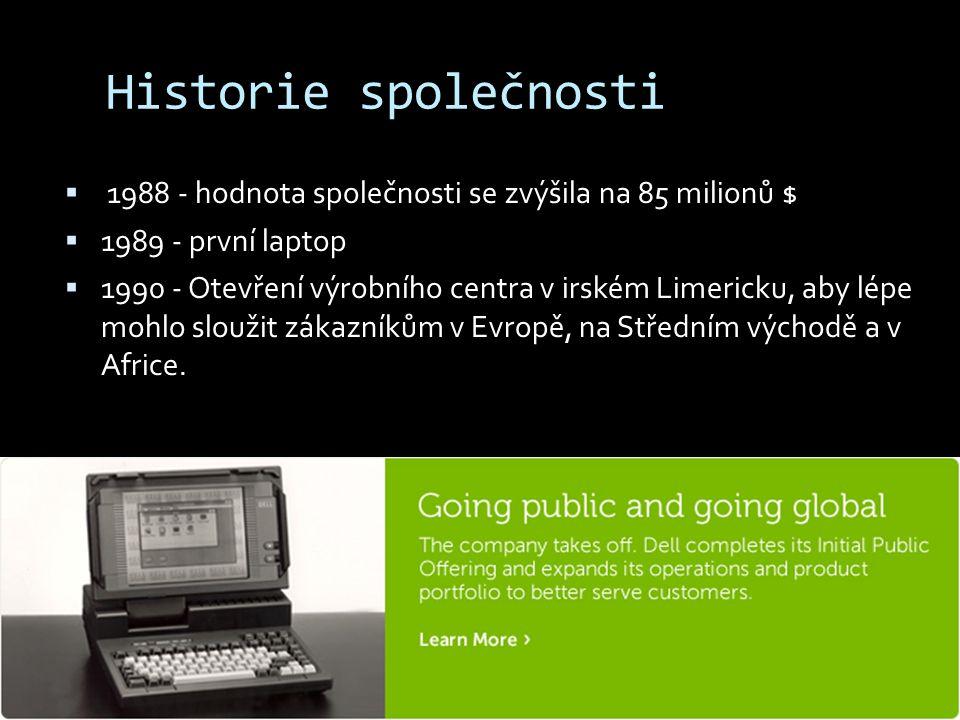 Historie společnosti 1988 - hodnota společnosti se zvýšila na 85 milionů $ 1989 - první laptop.