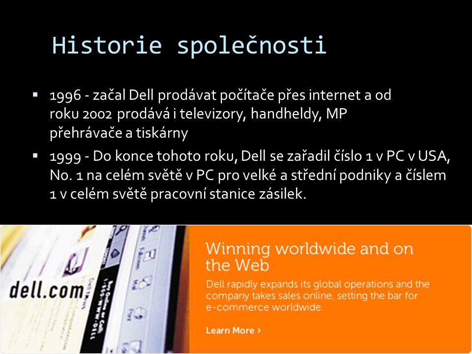 Historie společnosti 1996 - začal Dell prodávat počítače přes internet a od roku 2002 prodává i televizory, handheldy, MP přehrávače a tiskárny.
