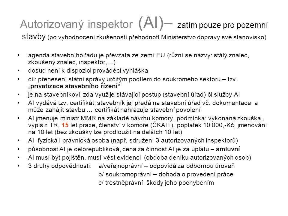 Autorizovaný inspektor (AI)– zatím pouze pro pozemní stavby (po vyhodnocení zkušeností přehodnotí Ministerstvo dopravy své stanovisko)