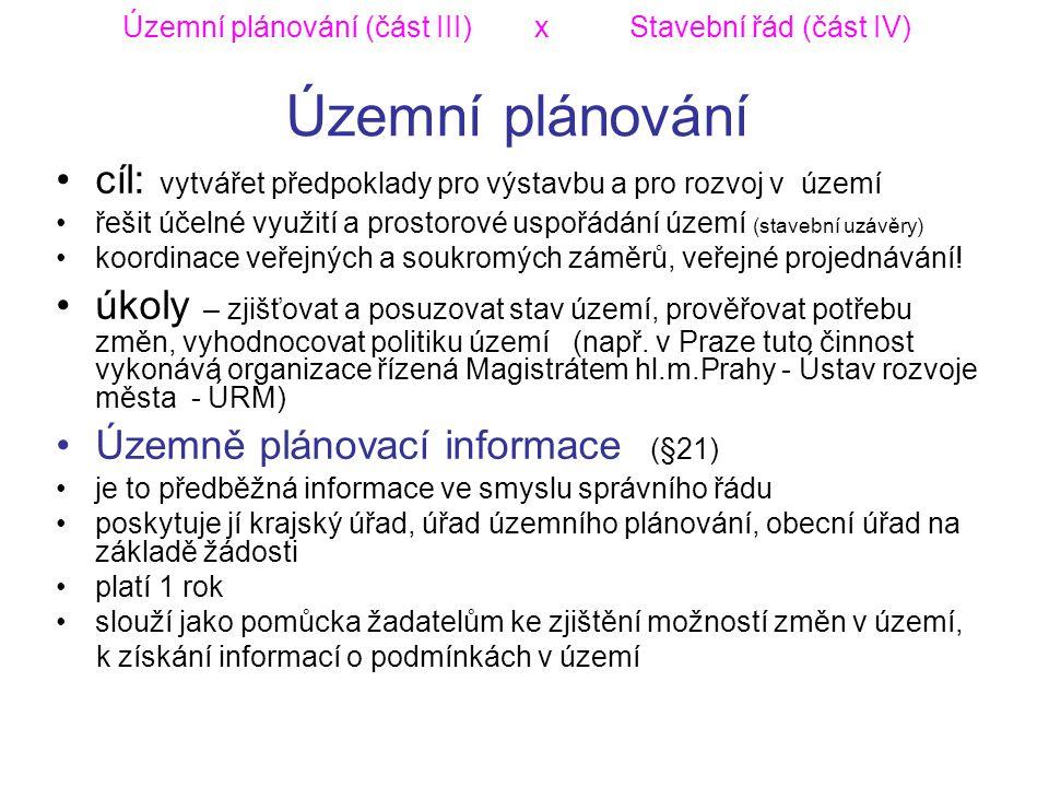 Územní plánování (část III) x Stavební řád (část IV) Územní plánování