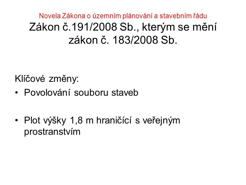 Novela Zákona o územním plánování a stavebním řádu Zákon č.191/2008 Sb., kterým se mění zákon č. 183/2008 Sb.