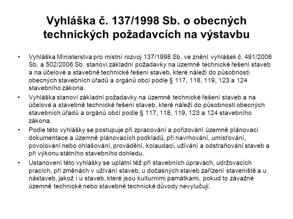 Vyhláška č. 137/1998 Sb. o obecných technických požadavcích na výstavbu