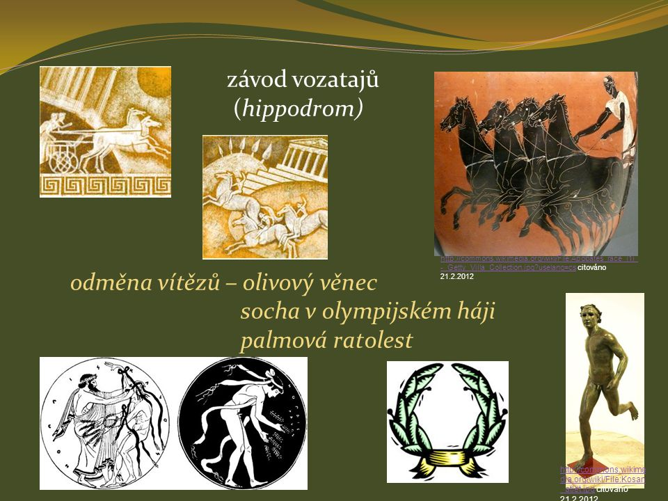 odměna vítězů – olivový věnec socha v olympijském háji