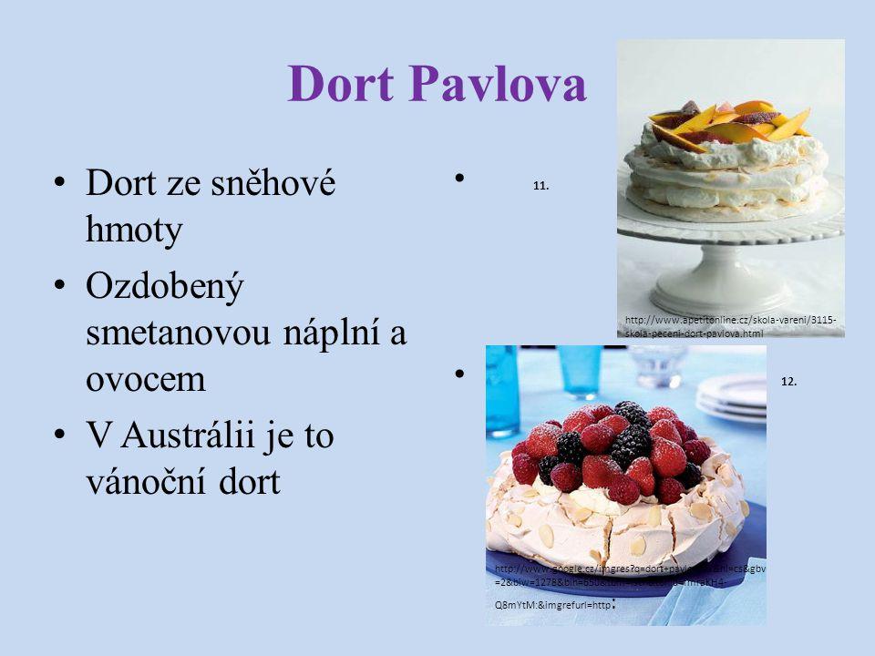 Dort Pavlova Dort ze sněhové hmoty Ozdobený smetanovou náplní a ovocem