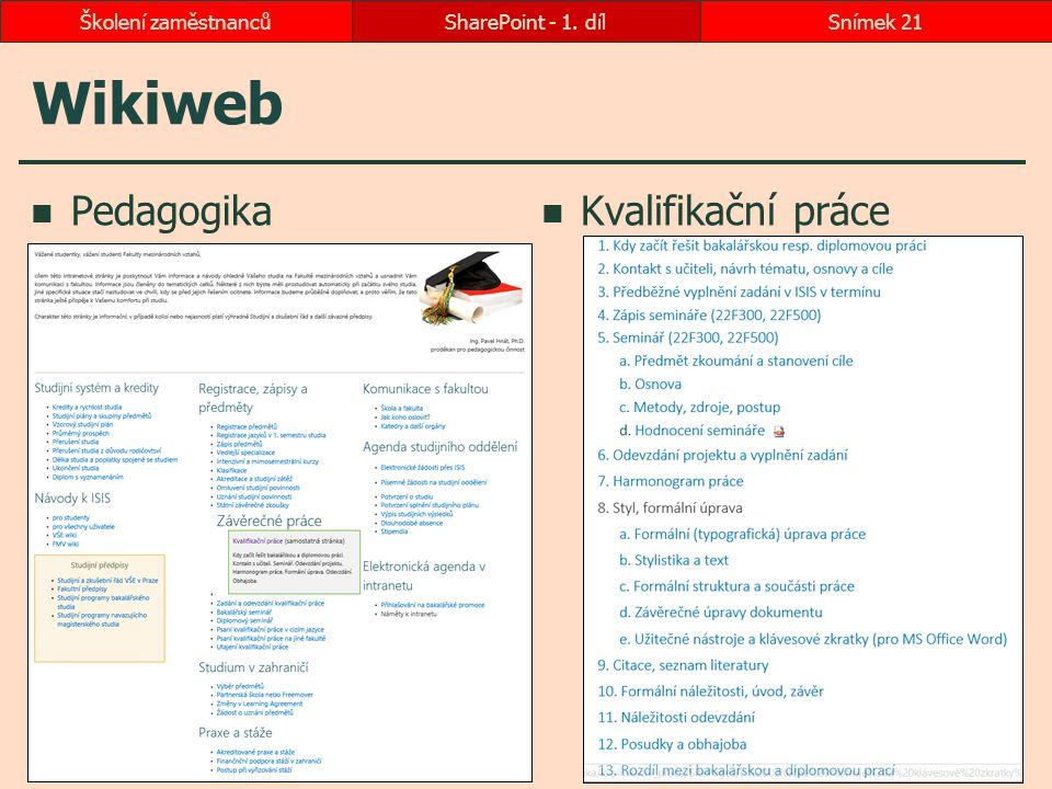 Wikiweb Pedagogika Kvalifikační práce Školení zaměstnanců