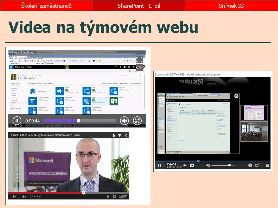 Školení zaměstnanců SharePoint - 1. díl Videa na týmovém webu