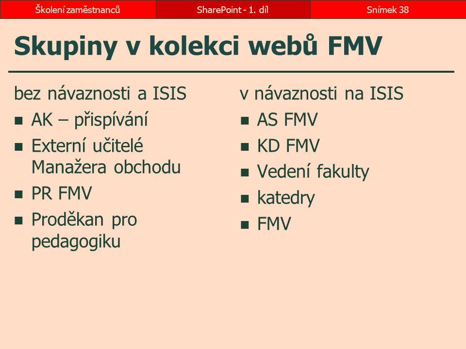 Skupiny v kolekci webů FMV