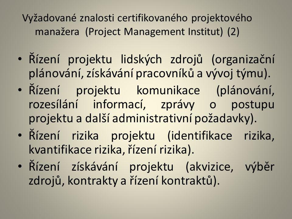 Vyžadované znalosti certifikovaného projektového manažera (Project Management Institut) (2)