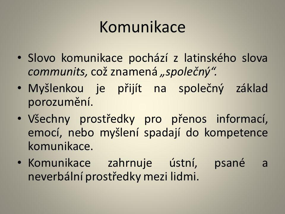 """Komunikace Slovo komunikace pochází z latinského slova communits, což znamená """"společný . Myšlenkou je přijít na společný základ porozumění."""