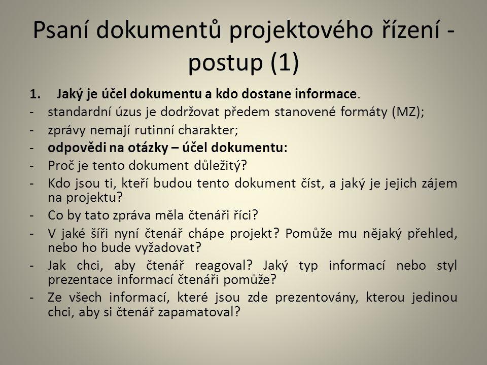 Psaní dokumentů projektového řízení - postup (1)
