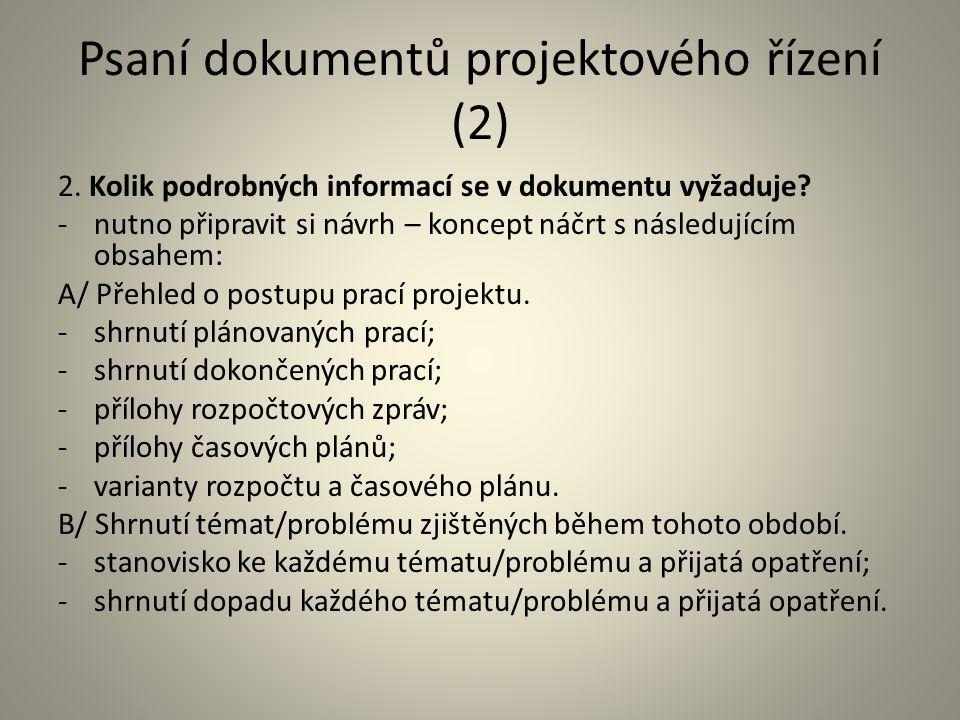 Psaní dokumentů projektového řízení (2)