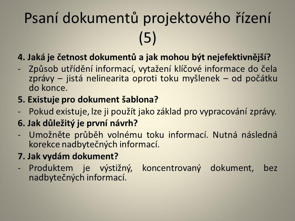 Psaní dokumentů projektového řízení (5)
