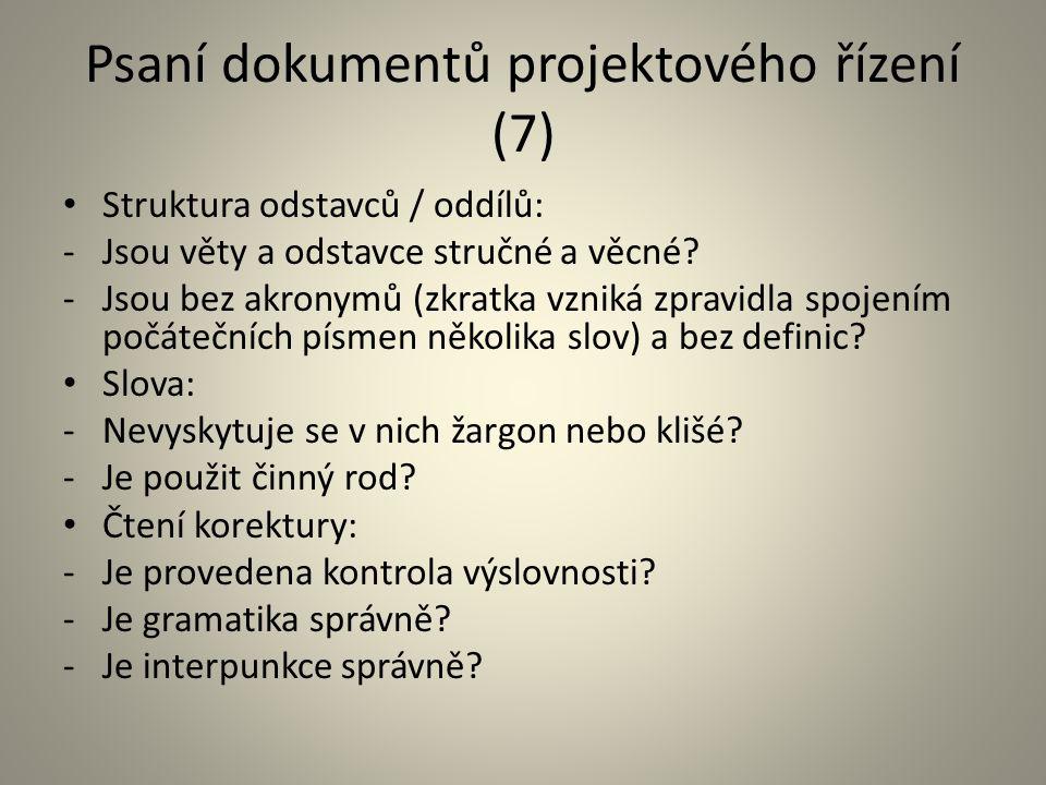 Psaní dokumentů projektového řízení (7)