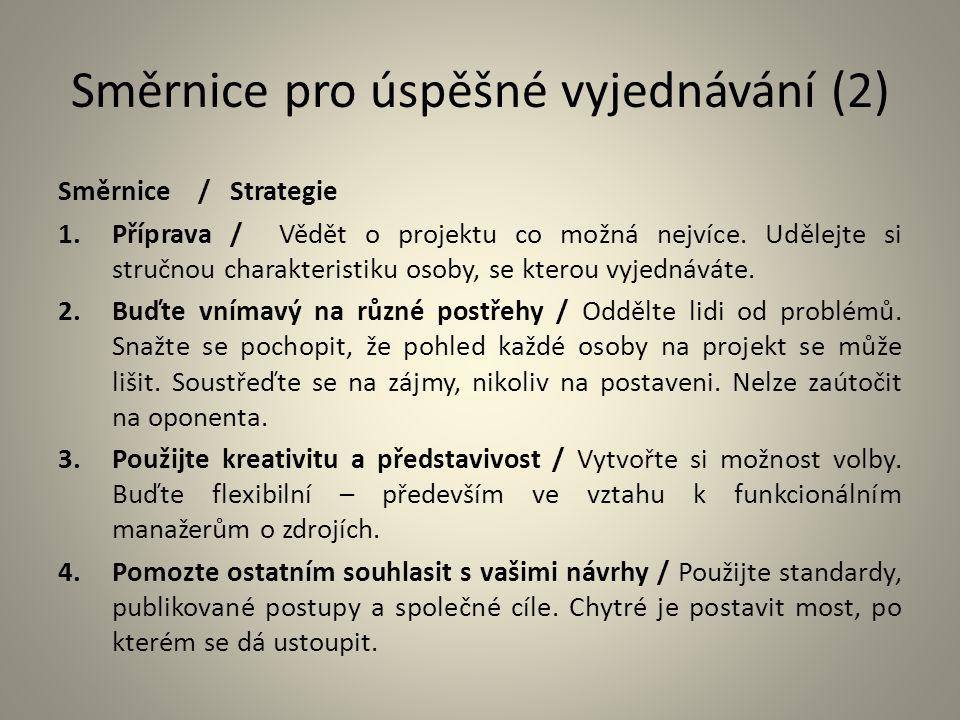 Směrnice pro úspěšné vyjednávání (2)