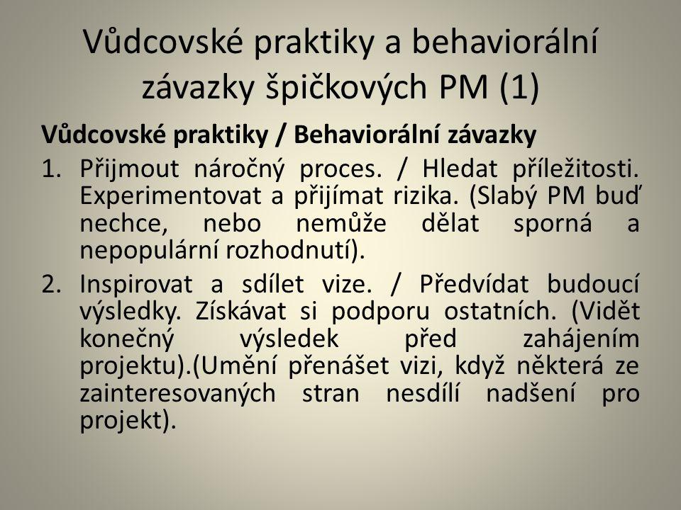 Vůdcovské praktiky a behaviorální závazky špičkových PM (1)