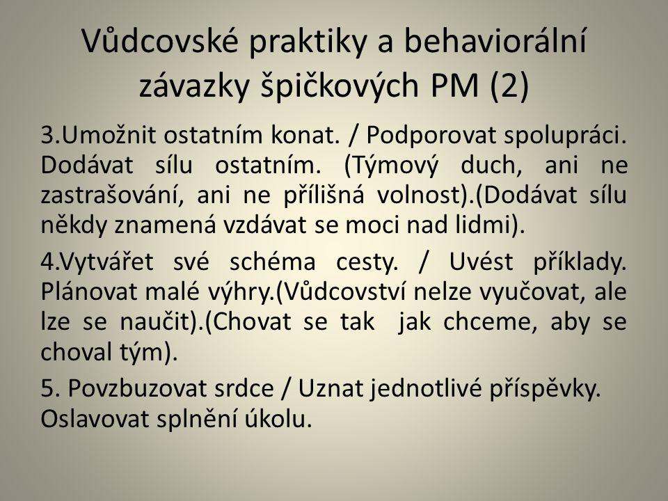 Vůdcovské praktiky a behaviorální závazky špičkových PM (2)