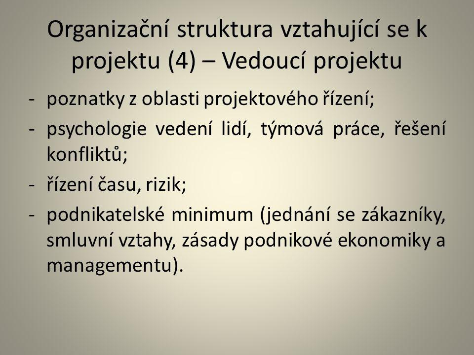 Organizační struktura vztahující se k projektu (4) – Vedoucí projektu