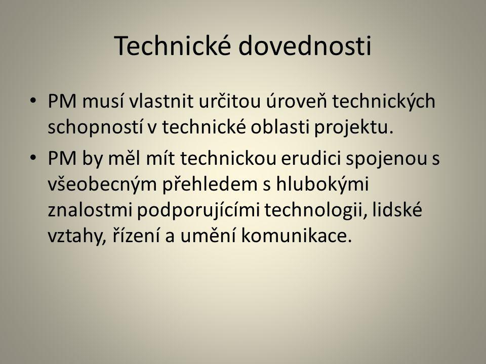 Technické dovednosti PM musí vlastnit určitou úroveň technických schopností v technické oblasti projektu.