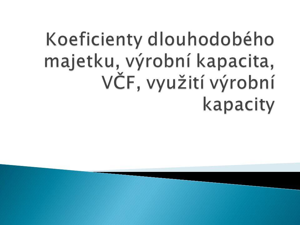 Koeficienty dlouhodobého majetku, výrobní kapacita, VČF, využití výrobní kapacity
