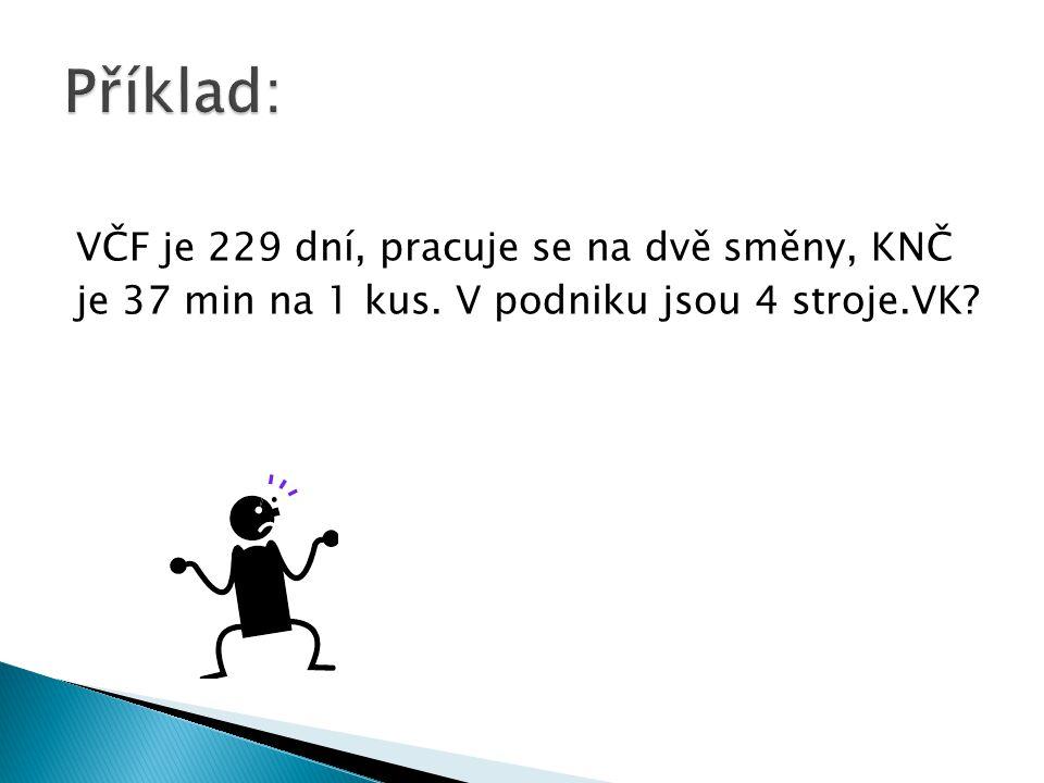 Příklad: VČF je 229 dní, pracuje se na dvě směny, KNČ je 37 min na 1 kus.