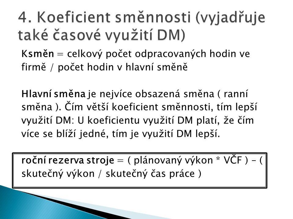 4. Koeficient směnnosti (vyjadřuje také časové využití DM)