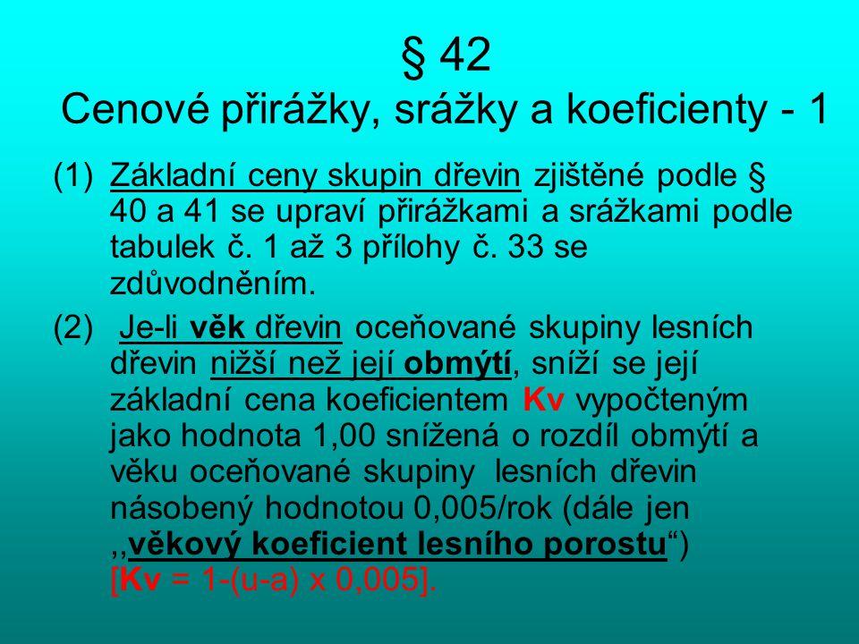 § 42 Cenové přirážky, srážky a koeficienty - 1