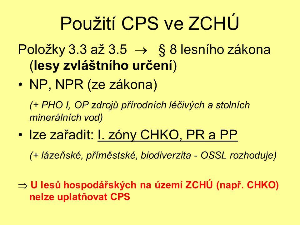 Použití CPS ve ZCHÚ Položky 3.3 až 3.5  § 8 lesního zákona (lesy zvláštního určení) NP, NPR (ze zákona)