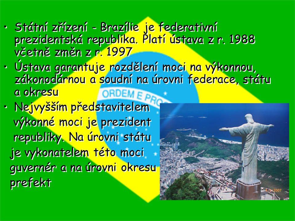Státní zřízení - Brazílie je federativní prezidentská republika