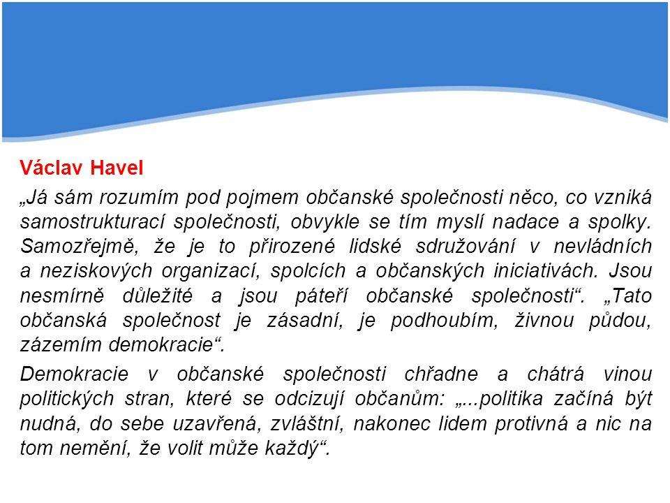 """Václav Havel """"Já sám rozumím pod pojmem občanské společnosti něco, co vzniká samostrukturací společnosti, obvykle se tím myslí nadace a spolky."""