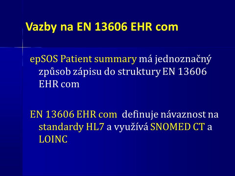 Vazby na EN 13606 EHR com epSOS Patient summary má jednoznačný způsob zápisu do struktury EN 13606 EHR com.