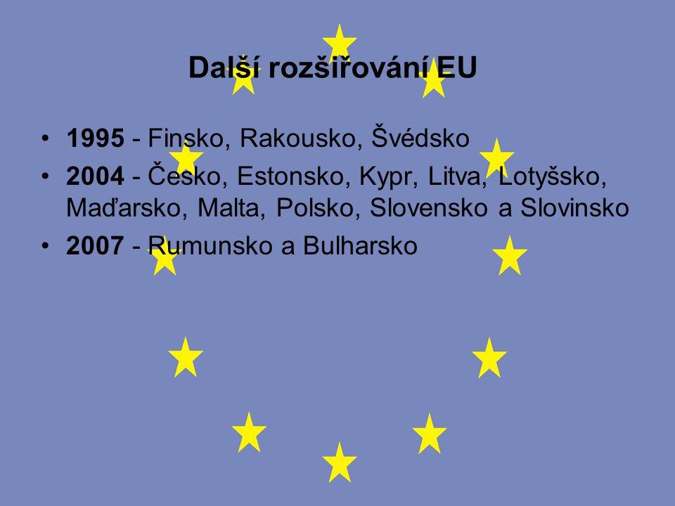 Další rozšiřování EU 1995 - Finsko, Rakousko, Švédsko