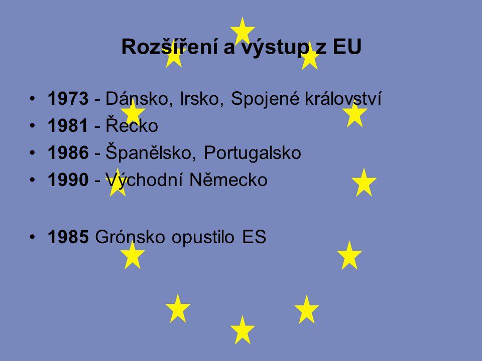Rozšíření a výstup z EU 1973 - Dánsko, Irsko, Spojené království